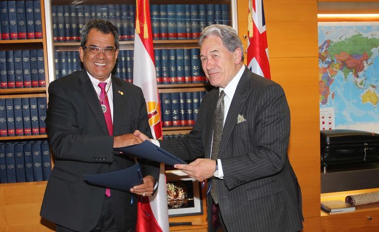 Edouard Fritch et Sir Winston Peters, Premier ministre par intérim néo-zélandais.