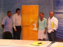 De gauche à droite: Jean-Michel Fontaine, Responsable Radio Polynésie 1ère, Gilles Cozanet, Directeur de Polynésie 1ère, Valérie Patole, Directrice d'antenne, et Olivier Gelin, Redacteur en chef