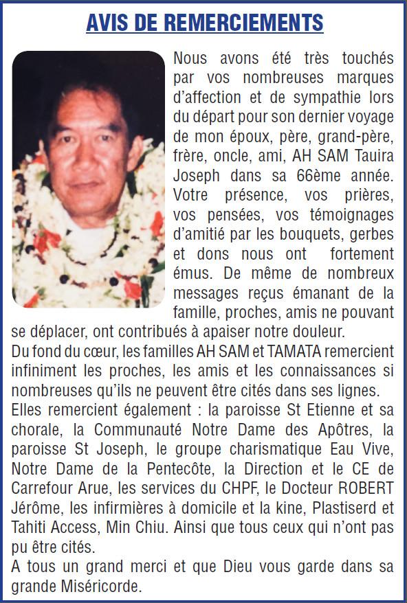 Avis de remerciements Famille AH SAM-TAMATA