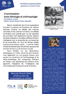 Conférence : L'hominisation entre éthologie et anthropologie