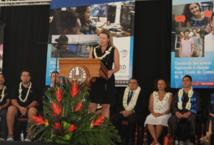 Sonia Aline, marraine de la promotion 2015 de l'Ecole de Commerce de Tahiti.
