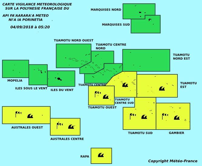 Vents violents et fortes houles aux Australes, aux Tuamotu et aux Gambier