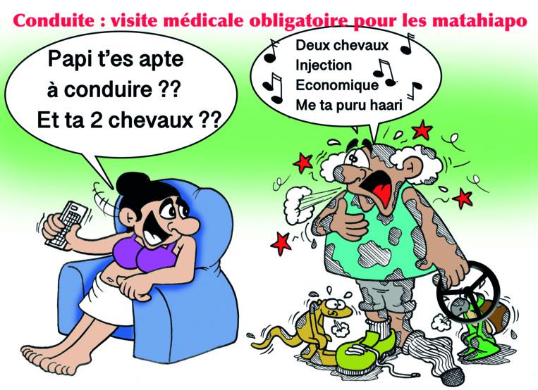 """"""" Conduite : Visite médicale obligatoire pour les matahiapo """" vu par Munoz"""