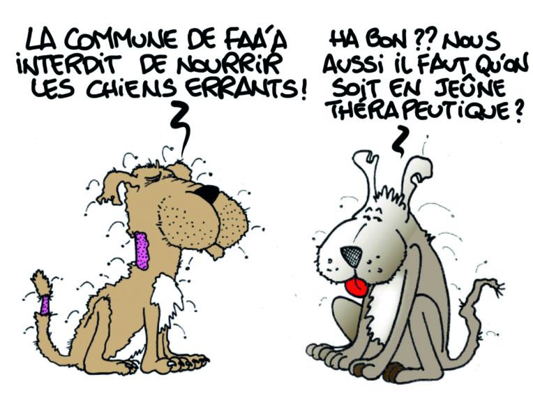 """"""" Les chiens de Faa'a au régime """" vu par Munoz"""