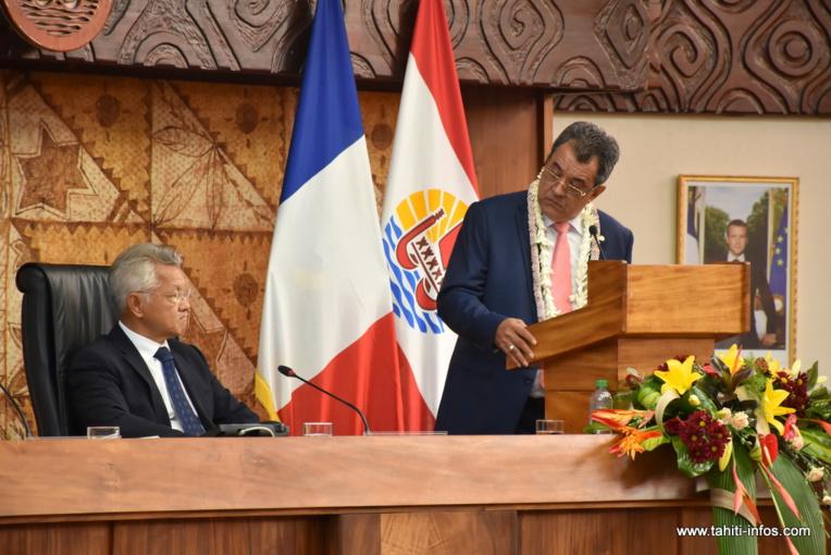 Edouard Fritch et Gaston Tong Sang, le président de l'assemblée, jeudi matin lors de la séance solennelle d'ouverture de la session budgétaire 2018.