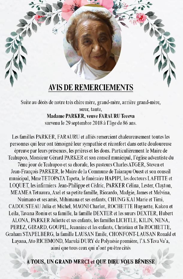 Avis de remerciements Famille PARKER - FARAURU