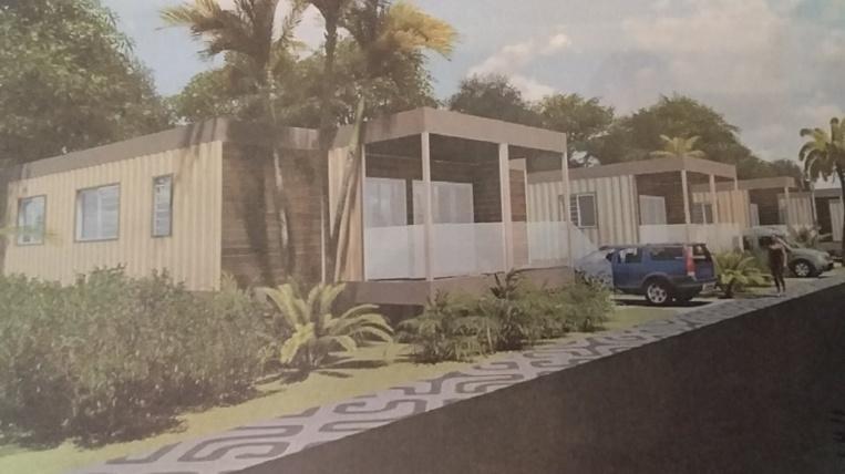 Ce projet est destiné à créer 27 logements provisoires, modulaires et transportables afin de reloger les familles habitant au sein de la bande de sécurité de l'aéroport de Tahiti-Faa'a.  Images : Island Studio architecture