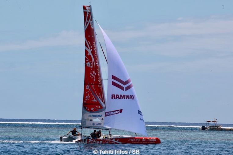 Le Diam 24 a navigué sur le plan d'eau d'Arue samedi