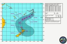 Trajectoire observée et estimée du cyclone tropical Wilma le 24 janvier 2011 à 18h00GMT-Joint Typhoon Warning Centre (US Navy, Hawaii)-