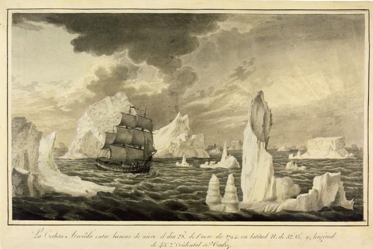 Dans les glaces de l'Alaska. La gravure exagère et force sans doute le trait, car Malaspina ne s'est pas aventuré dans l'Arctique comme Cook dix ans avant lui.