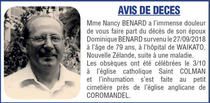 Décès de Monsieur Dominique BENARD