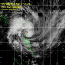 Photo satellite du cyclone Yasi le 30 janvier 2011 à 11h32 GMT (Source Joint Typhoon Warning Centre, US Navy, Hawaii)
