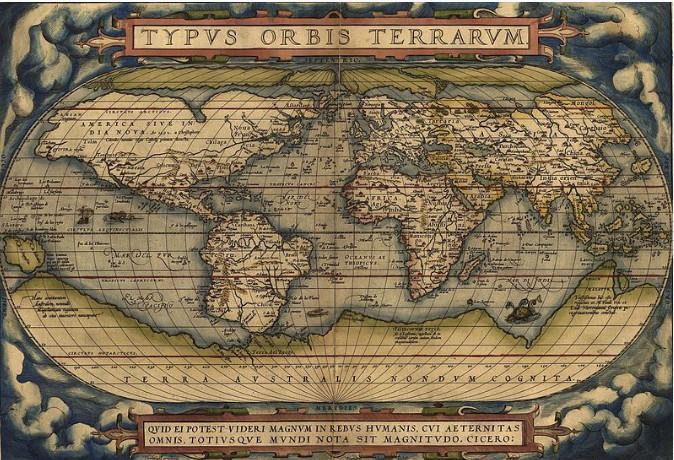 Sur le portulan du cartographe flamand Abraham Ornelius apparaît pour la première fois l'archipel des Galapagos (Galapagos étant un ancien mot espagnol désignant les tortues).