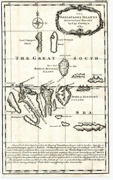 Cette carte parcellaire des Galapagos est due au capitaine anglais William Ambrose Cowley  qui pensa avoir découvert cet archipel en 1683. La carte daterait de 1744.
