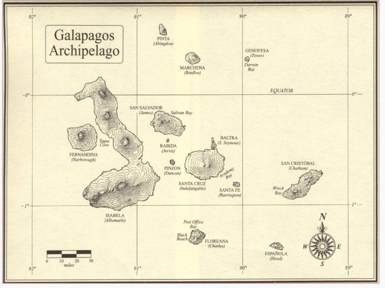 Les Galapagos comptent 41 îles pour une surface de 8 010 km2. Le point culminant, volcanique, le volcan Wolf, se trouve sur l'île d'Isabella. Leur surnom d'îles enchantées, en français, est une mauvaise traduction de « Islas Encantadas » ; il faut comprendre enchantées au sens d'ensorcelées, de maléfiques.