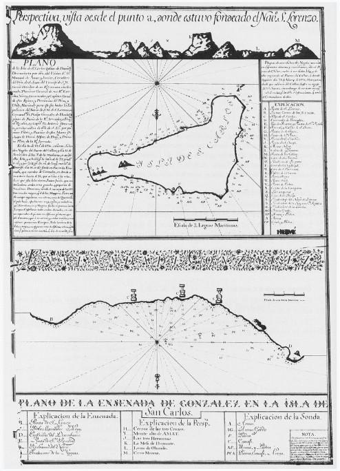 Carte et plan relevés par les spécialistes accompagnant de Ahedo à l'île de Pâques en 1770.
