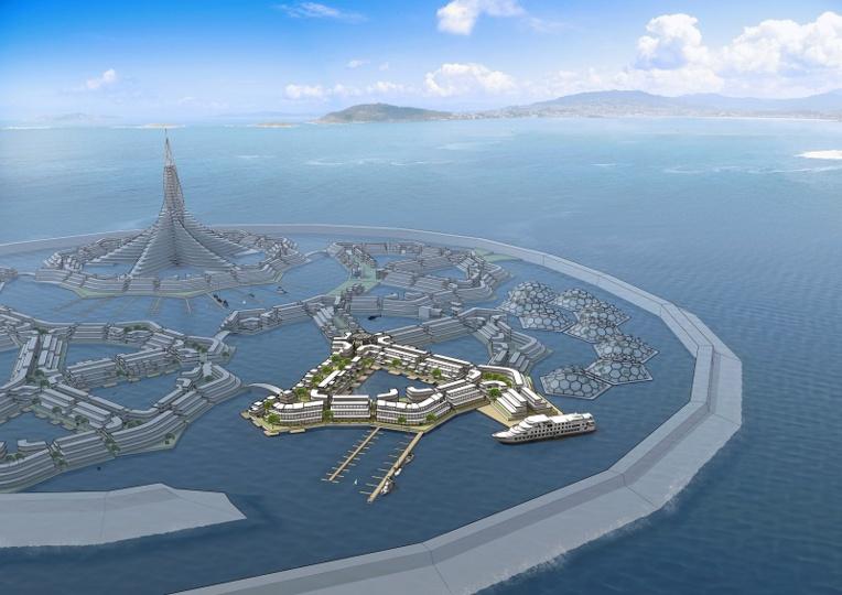 Créer un prototype d'île flottante en Polynésie: le projet a séduit les technophiles locaux, et les promesses d'investissements ont intéressé le gouvernement. Mais face à l'opposition d'une partie de la population et l'échec de sa dernière levée de fonds, le projet est mal en point (crédit image: Seasteading Institute).
