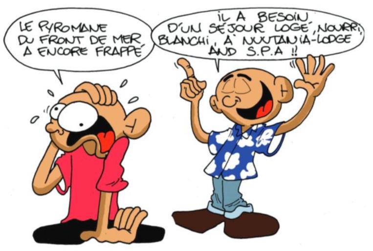 """"""" Le pyromane du front de mer """" vu par Munoz"""