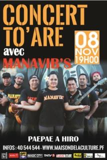 Manavib's en concert sur la scène du paepae a Hiro