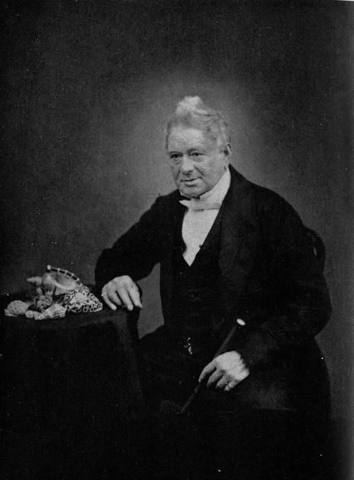 Portrait de Hugh Cuming à la fin de sa vie ; revenu malade de son expédition aux Philippines, il se consacra surtout à gérer le marché des coquillages auprès des collectionneurs.