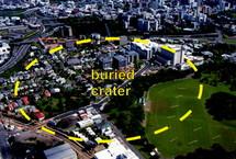 PHOTO : Le périmètre, en pleine centre-ville d'Auckland, où se trouve l'ancien cratère volcanique (source photo : GNS Science)