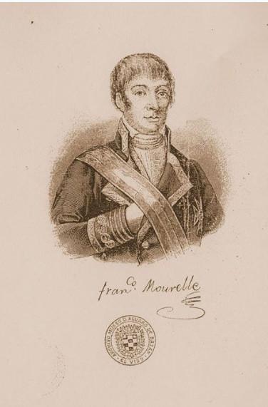 Un des rares portrais de Francisco A Mourelle de la Rua, publié avec sa première biographie.