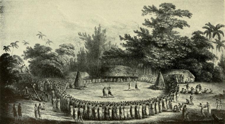 Le 12 mars 1781, le chef de Vava'u offrit une grande fête en l'honneur des Espagnols. Cette gravure (une fête donnée aux équipages de James Cook), donne une idée de l'accueil reçu par les Espagnols aux Tonga.