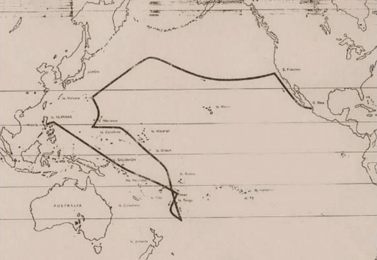 Le trajet de Mourelle à partir des Philippines. Pour trouver des vents portants, il eut fallu qu'il descende encore plus au sud, afin d'être porté sans difficulté vers les côtes de l'Amérique du Sud.