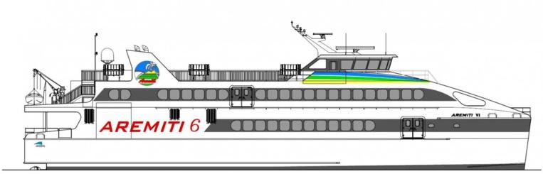 Le Aremiti 6 devrait faire l'aller-retour Tahiti-Moorea en cinquante minutes.