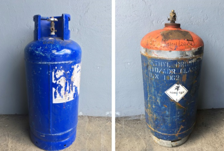 Une trentaine de bonbonnes de gaz chimique, contenant du bromure de méthylène, un gaz extrêmement nocif pour l'homme, étaient à bord du Kura Ora lors de son immersion.