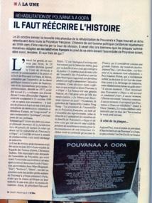 Réhabilitation de Pouvana'a : Jean-Marc Regnault demande que les manuels scolaires soient complétés