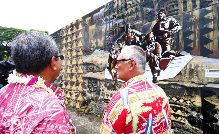 Une fresque en l'honneur des anciens combattants du fenua