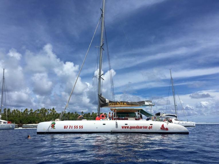 Trois catamarans neufs seront disponibles prochainement sur place pour satisfaire une clientèle de passionnés de voile, curieuse de découvrir la beauté des lagons paumotu. (Photo : Facebook Poe Charte)