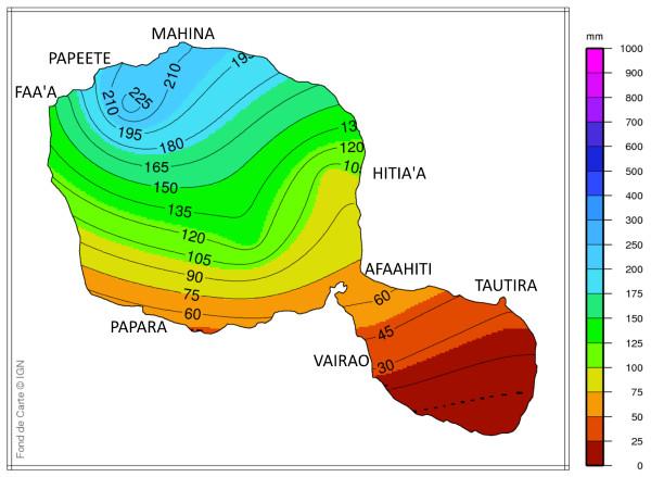 La presqu'île et la côte sud de Tahiti  ainsi que les Iles Sous Le Vent ont été relativement épargnées par les fortes pluies.