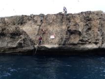 Accéder à Teuaua demande des talents d'alpinistes !