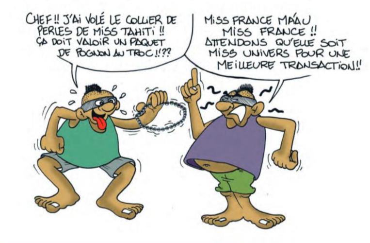 """"""" Le collier dérobé de Miss Tahiti """" vu par Munoz"""
