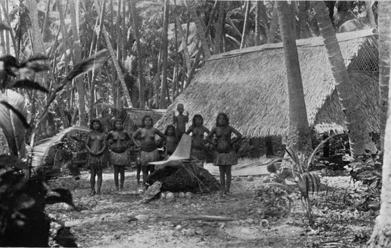 Quelques femmes de Nauru dans leur cocoteraie ; pour elles, l'arrivée des Allemands fut synonyme de retour au calme ; c'en était fini de dix ans de terreur.