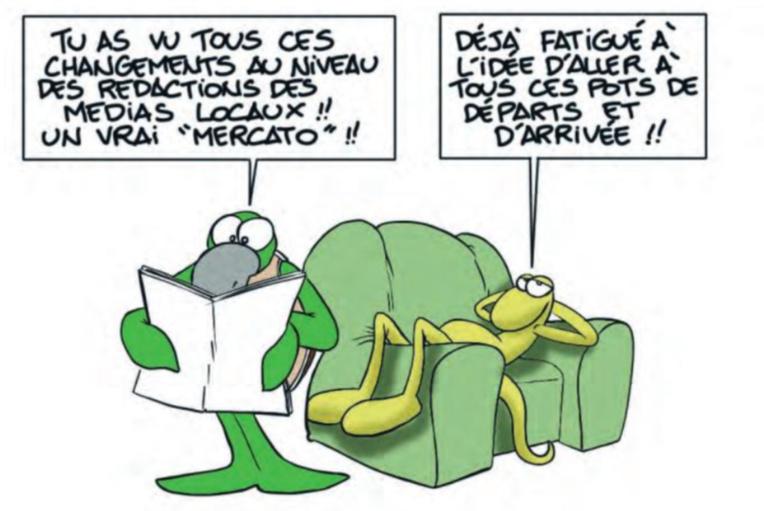 """"""" Remue-ménage dans la presse locale """" vu par Munoz"""