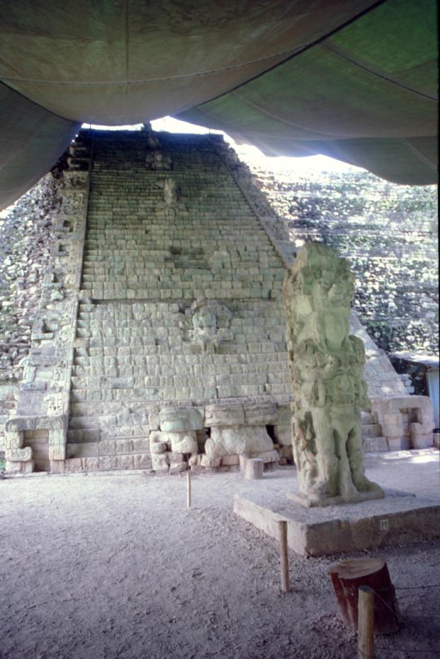 Beaucoup de pages du grand livre de Copan sont écrites sur les tranches des escaliers. Celui-ci compte plus de deux mille glyphes.