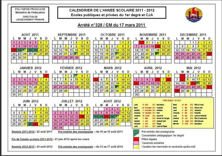 Les archives du calendrier scolaire Niooz