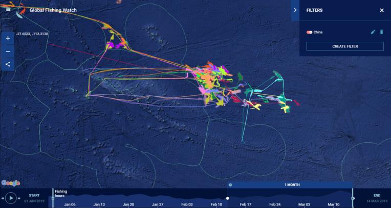 Tous les 32 bateaux chinois identifiés autour de notre ZEE ce dernier mois. Leurs balises sont parfois étrangement interrompues... Malgré tout on voit que leurs efforts de pêche se concentrent à l'Est et au Nord de nos eaux territoriales.