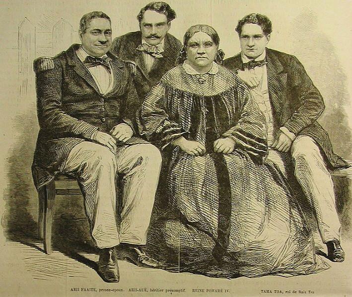 La reine Pomare, entourée de Arii Faaite, Arii Aue et Tamatoa. Manipulée par les pasteurs protestants, elle fit confiance à Alexandre Salmon qui devint un de ses proches.