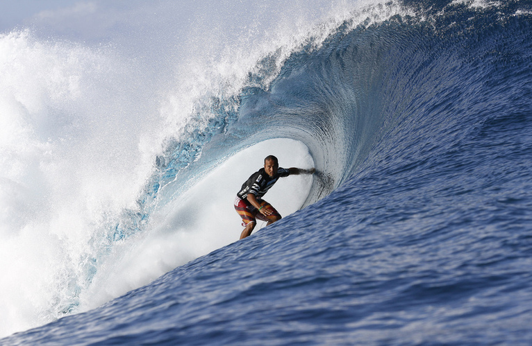 Hawaii's Fred Patacchia surfed superbly to win his round one heat at the Billabong Pro Tahiti. Image Credit: © ASP/ Robertson