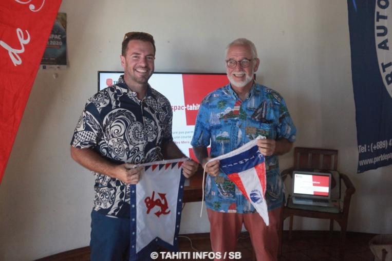 Le nouveau président du Yacht Club Jessee Besson et Tom Hogan