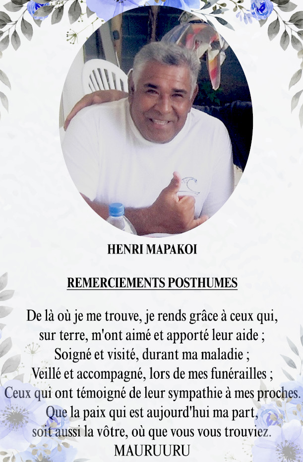 Remerciements posthumes Famille MAPAKOI