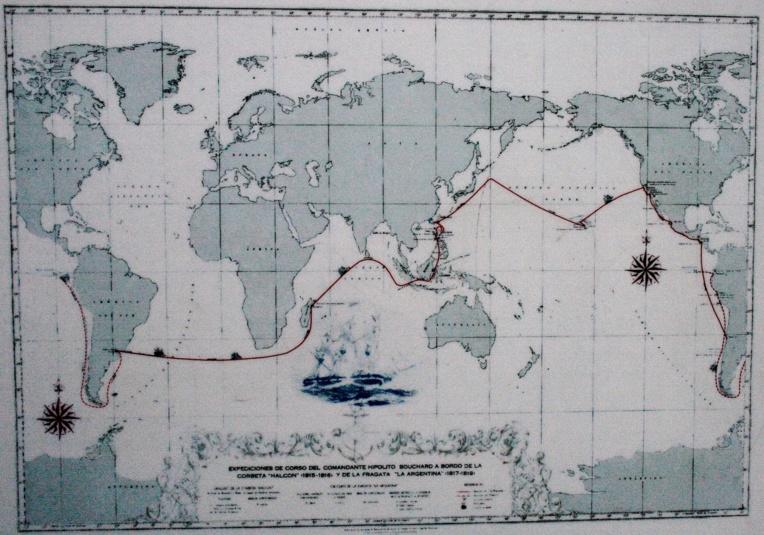 Le tour du monde de Bouchard, au cours duquel il se montra sanguinaire, notamment sur les côtes californiennes et en Méso-Amérique.