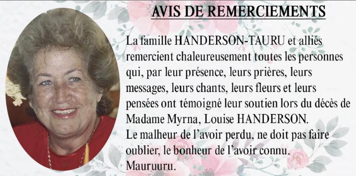 Avis de remerciements Famille HANDERSON - TAURU