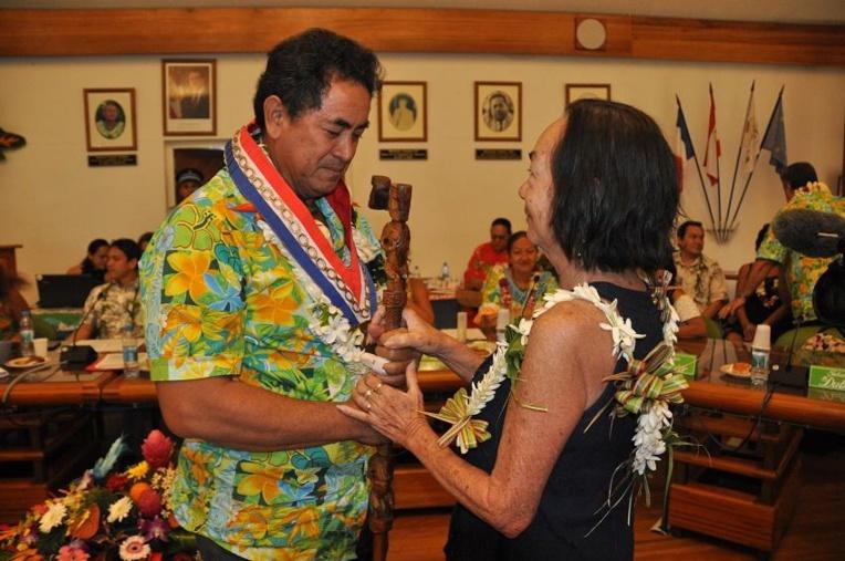 Simplicio Lissant, le 7 septembre 2018, lors de son élection à la tête de la mairie de Punaauia pour succéder à feu Rony Tumahai.