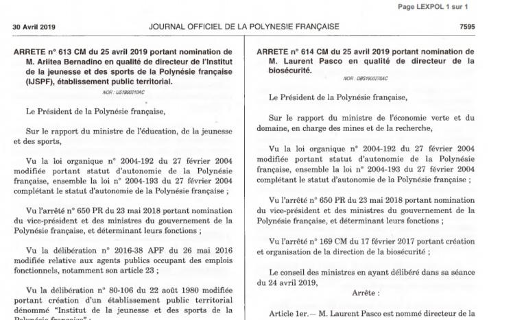 Nominations officielles à l'IJSPF et à la biosécurité