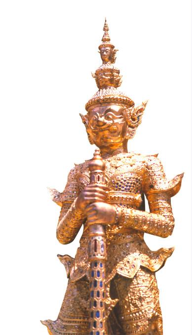 Un gardien du temple, « yaksha » armé d'une massue ornée de pierreries.